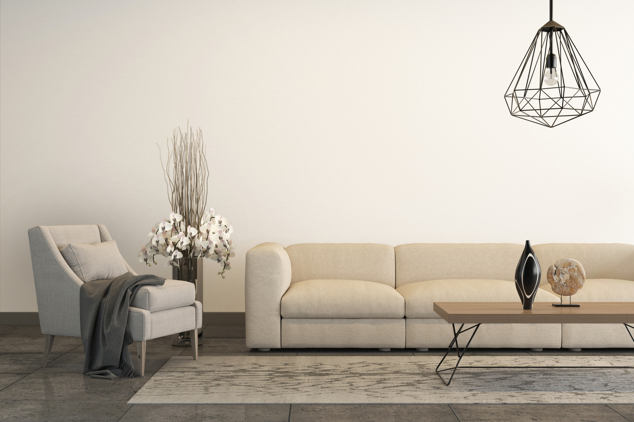 White armchair with white sofa and decoration