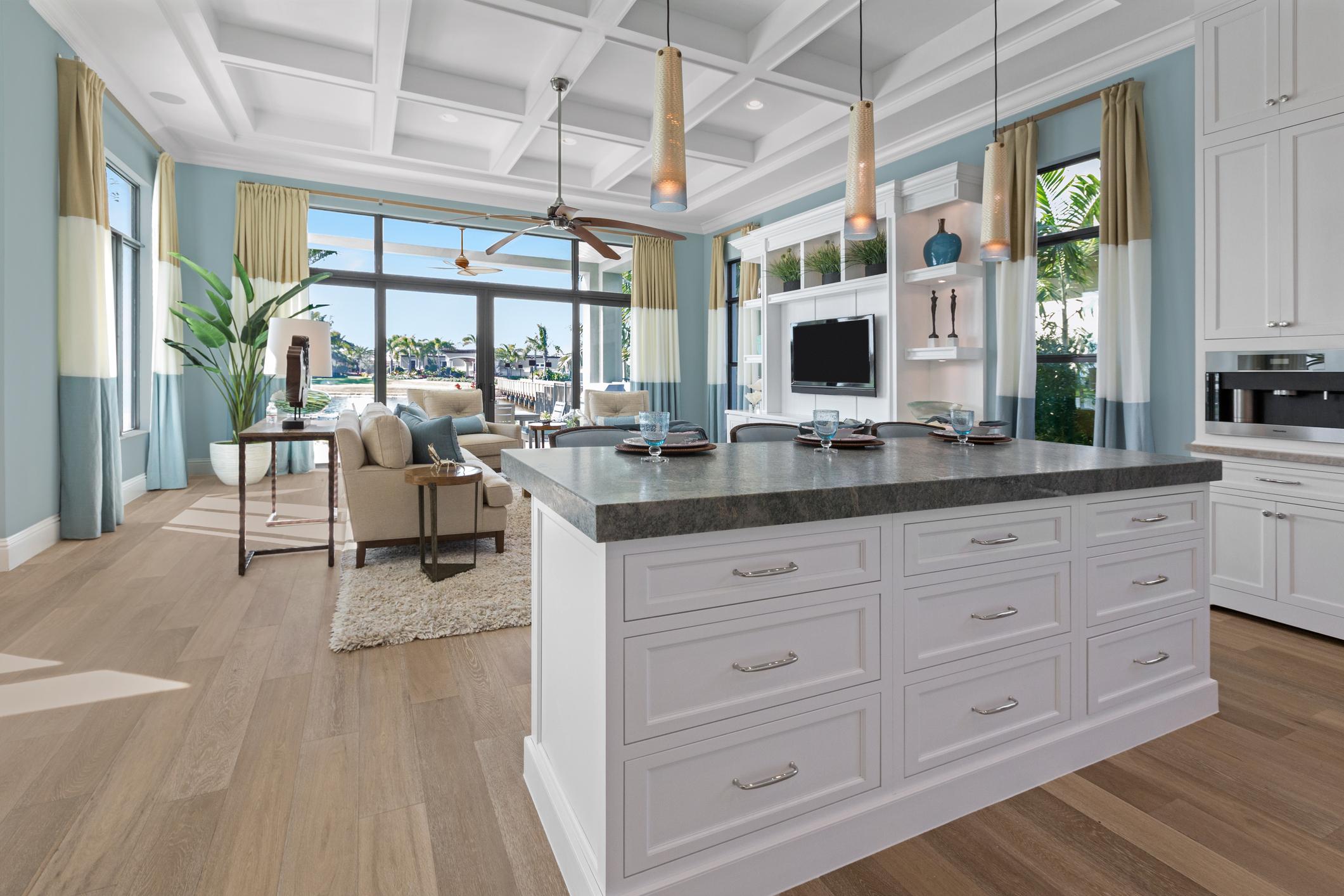 Modern beige and white kitchen.